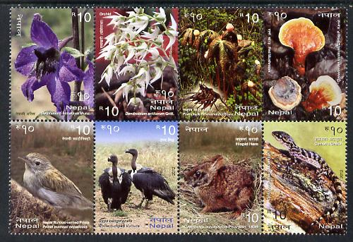Nepal 2012 Biodiversity Series set of 8 in se-tenant block unmounted mint
