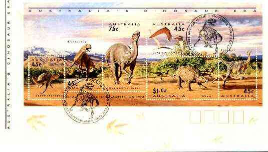 Australia 1993 Prehistoric Animals m/sheet containing complete set of 6 on cover with special first day cancel, SG MS 1429