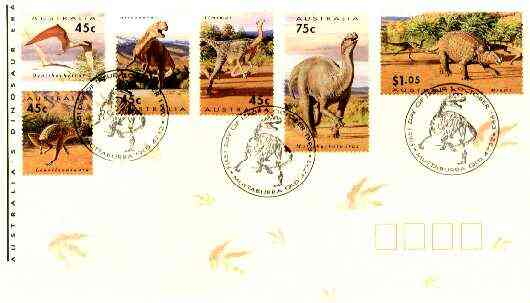 Australia 1993 Prehistoric Animals complete set of 6 on cover with special first day cancel, SG 1423-28
