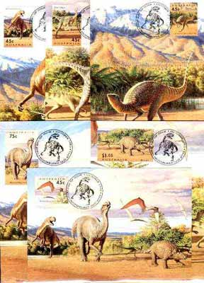 Australia 1993 Prehistoric Animals complete set of 6 each on separate maximum card with special first day cancel, SG 1423-28