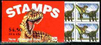 Booklet - New Zealand 1993 Prehistoric Animals $4.50 booklet (with slotted tab at right) SG SB 66a