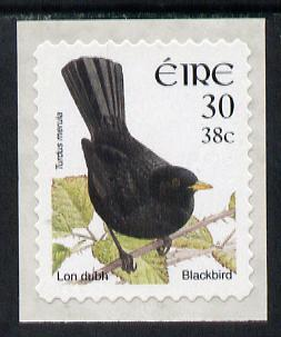 Ireland 2001 Birds Dual Currency - Blackbird 30p/38c self-adhesive unmounted mint SG 1430