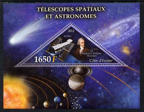 Ivory Coast 2012 Space Telescopes & Astronomers perf m/sheet containing 1 triangular value unmounted mint