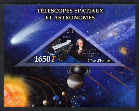 Ivory Coast 2012 Space Telescopes & Astronomers imperf m/sheet containing 1 triangular value unmounted mint
