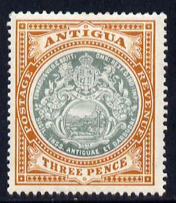 Antigua 1908-17 MCA Badge 3d grey-green & orange-brown mounted mint SG 47
