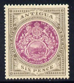 Antigua 1908-17 MCA Badge 6d purple & drab mounted mint SG 48