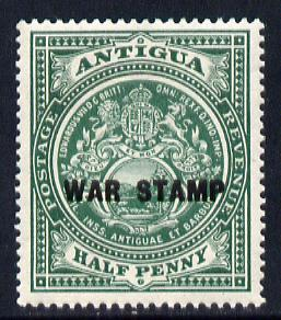 Antigua 1916-17 War Tax 1/2d green (black overprint) mounted mint SG 52