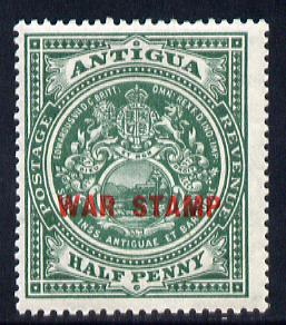Antigua 1916-17 War Tax 1/2d green (red overprint) mounted mint SG 53