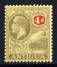 Antigua 1921-29 KG5 MCA 4d grey-black & red on pale yellow mounted mint SG 56