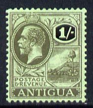 Antigua 1921-29 KG5 MCA 1s black on emerald mounted mint SG 57