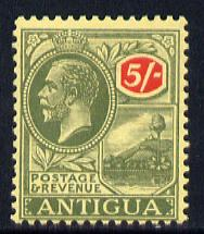 Antigua 1921-29 KG5 MCA 5s green & red on pale yellow mounted mint SG 60