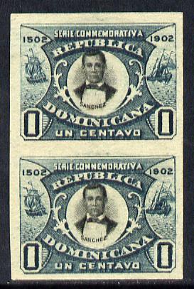 Dominican Republic 1902 400th Anniversary 1c imperforate pair small part original gum as SG125