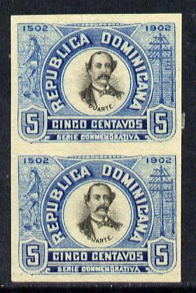 Dominican Republic 1902 400th Anniversary 5c imperforate pair small part original gum as SG127