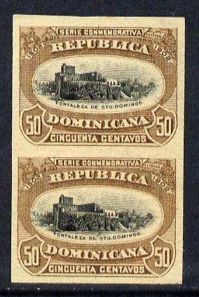 Dominican Republic 1902 400th Anniversary 50c imperforate pair unmounted mint as SG131