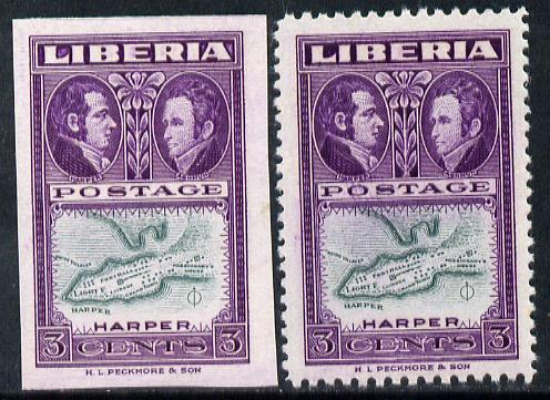 Liberia 1952 Ashmun 3c Map of Harper imperf proof in issued colours plus perf normal both unmounted mint (as SG 717)