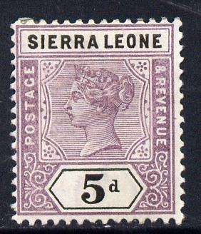 Sierra Leone 1896-97 QV Key Plate Crown CA 5d mauve & black mounted mint SG 48