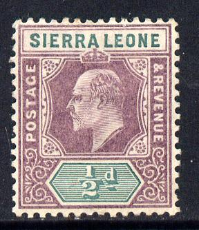 Sierra Leone 1903 KE7 Crown CA 1/2d purple & green mounted mint SG 73
