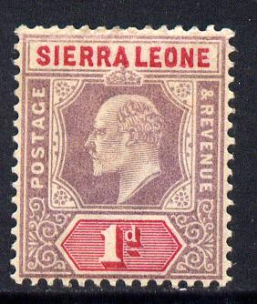 Sierra Leone 1903 KE7 Crown CA 1d purple & rosine mounted mint SG 74