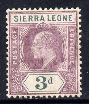 Sierra Leone 1904-05 KE7 MCA 3d purple & grey mounted mint SG 91