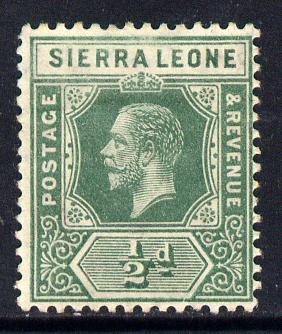 Sierra Leone 1912-21 KG5 MCA 1/2d green mounted mint SG 112