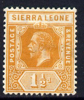 Sierra Leone 1912-21 KG5 MCA 1.5d orange mounted mint SG 114