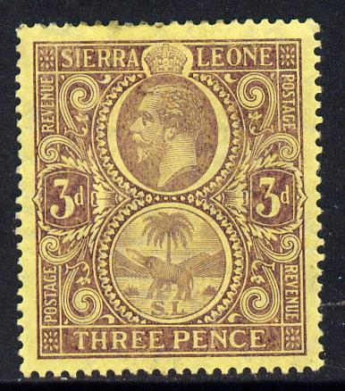 Sierra Leone 1912-21 KG5 MCA 3d purple on yellow mounted mint SG 116b