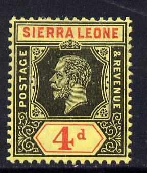 Sierra Leone 1912-21 KG5 MCA 4d black & red on yellow mounted mint SG 117