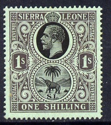 Sierra Leone 1912-21 KG5 MCA 1s black on green mounted mint SG 124