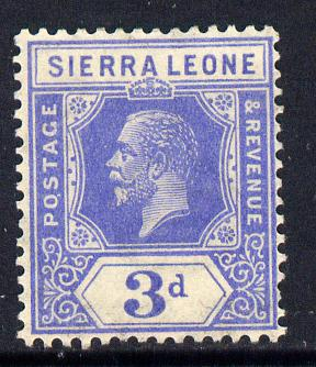 Sierra Leone 1921-27 KG5 Script CA 3d bright blue mounted mint SG 136