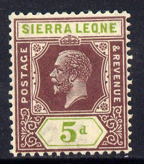 Sierra Leone 1921-27 KG5 Script CA 5d purple & olive-green mounted mint SG 138