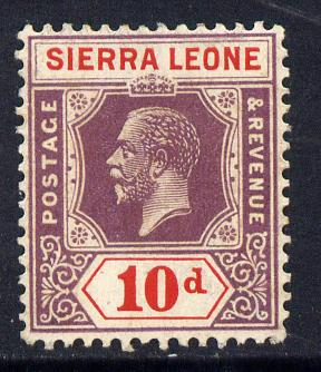 Sierra Leone 1921-27 KG5 Script CA 10d purple & red mounted mint SG 142