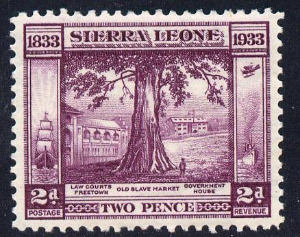 Sierra Leone 1933 KG5 Wilberforce & Abolition of Slavery 2d purple mounted mint SG 171