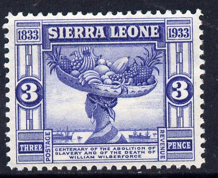 Sierra Leone 1933 KG5 Wilberforce & Abolition of Slavery 3d blue mounted mint SG 172