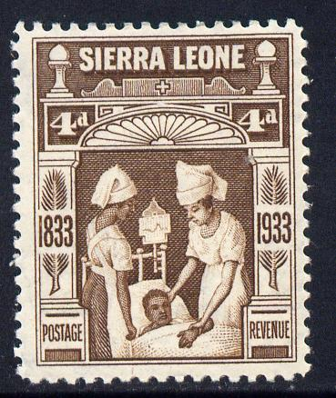 Sierra Leone 1933 KG5 Wilberforce & Abolition of Slavery 4d brown mounted mint SG 173