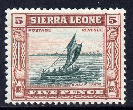 Sierra Leone 1933 KG5 Wilberforce & Abolition of Slavery 5d green & chestnut mounted mint SG 174