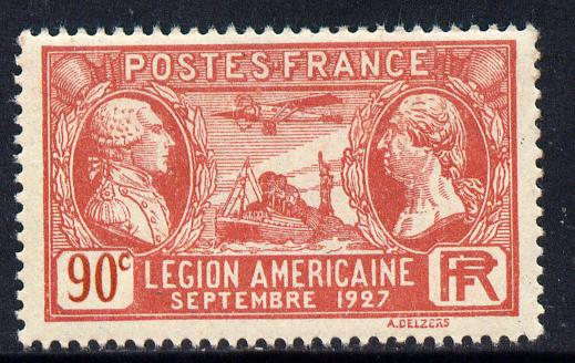 France 1927 Visit of American Legion 90c red unmounted mint SG 458