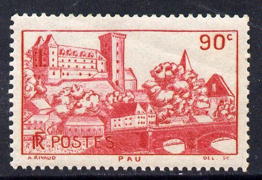 France 1938-39 Chateau de Pau 90c red on blue unmounted mint SG 594a