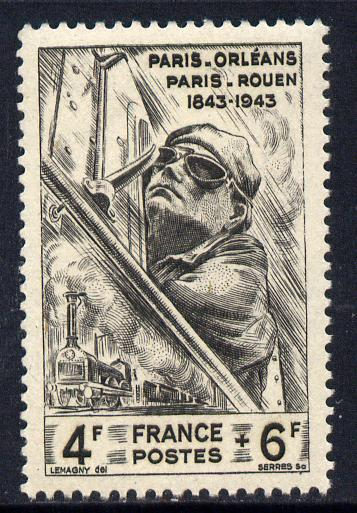 France 1944 National Relief Fund - Railways 4f+6f unmounted mint SG 830