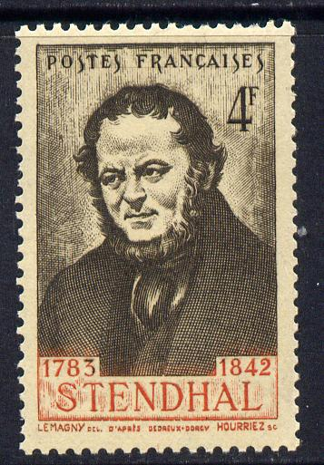 France 1942 Death Centenary of Stendhal (novelist) 4f sepia & red unmounted mint SG 755