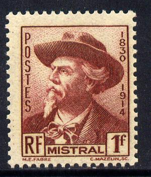 France 1941 Frederic Mistral (poet) 1f brown-lake unmounted mint SG 698
