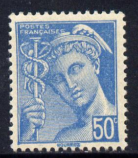 France 1942 Mercury 50c greenish-blue unmounted mint SG 753