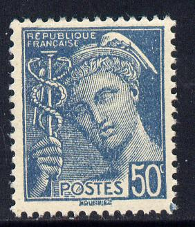 France 1938-42 Mercury 50c greenish-blue unmounted mint SG 627c