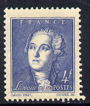 France 1943 Birth Bicentenary of Lavoisier (chemist) 4f blue unmounted mint SG 785