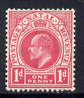 Natal 1902-03 KE7 Crown CA Postage-Revenue 1d carmine mounted mint SG 128