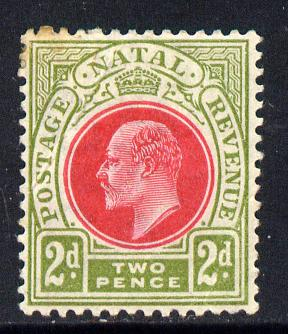 Natal 1902-03 KE7 Crown CA Postage-Revenue 2d red & olive-green mounted mint SG 130