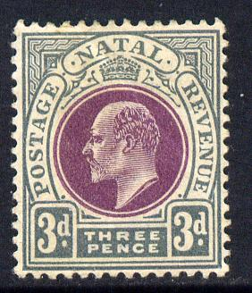 Natal 1902-03 KE7 Crown CA Postage-Revenue 3d purple & grey mounted mint SG 132