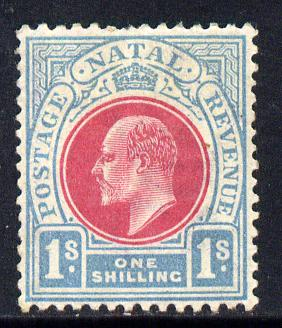Natal 1902-03 KE7 Crown CA Postage-Revenue 1s carmine & pale blue mounted mint SG 136