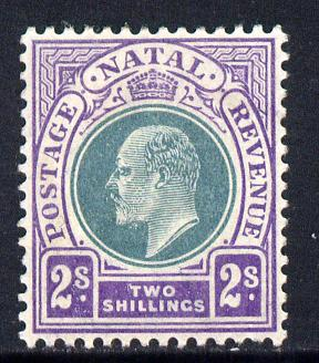 Natal 1902-03 KE7 Crown CA Postage-Revenue 2s green & bright violet mounted mint SG 137