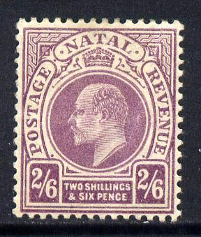 Natal 1904-08 KE7 MCA Postage-Revenue 2s6d purple mounted mint SG 157
