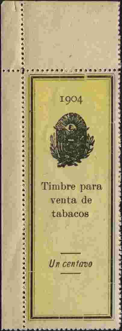 El Salvador 1904 Tobacco Duty 1c perforated revenue stamp on ungummed paper